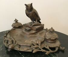 Antique double inkwell/penholder with secret bell, with owl perched on a book