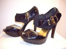 "MICHAEL KORS SZ 7 M BLACK PAT LEATHER PLATFORM SHOES HEELS – GOLD TRIM & 4.5"" HE"