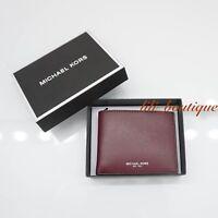32286c2a4 NWT Michael Kors Men's Warren Slim Billfold Wallet Leather Rouge Red Gift  Box 98