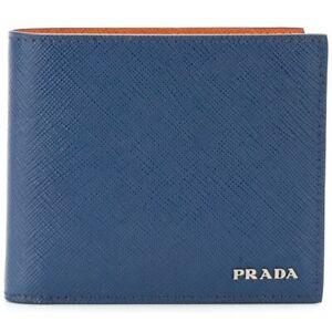 PRADA SAFFIANO bicolor Wallet Mens Bifold 2MO738 Blue/orange Authentic original