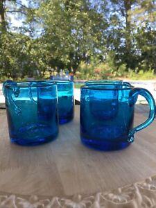 Handblown COBALT blue set of 4 beverage glasses