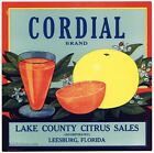 CORDIAL Brand, Vintage Leesburg Florida, ***AN ORIGINAL CITRUS CRATE LABEL***