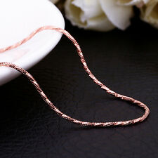 18K Rose Gold GP Twisted Rope 1.5mm Charm Necklace Chain For Pendants Stunning