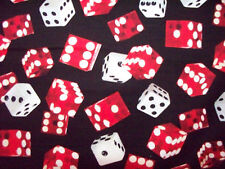DICE RED & WHITE ROLL EM GAMES GAMING COTTON FABRIC FQ