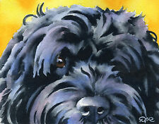 Portuguese Water Dog Watercolor 8 x 10 Art Print Signed by Artist Djr