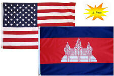 2x3 2'x3' Wholesale Set (2 Pack) USA American & Cambodia Country Flag Banner