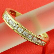 FS622A GENUINE 18K YELLOW G/F GOLD SOLID DIAMOND SIMULATED ETERNITY RING SZ : N