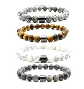 Tigers eye Gemstone Yoga Energy Healing  with Black Hematite Beads 8mm UK