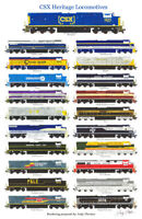 "CSX Proposed Heritage Locomotives 11""x17"" Poster by Andy Fletcher signed"