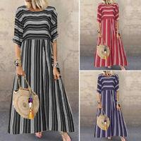 ZANZEA Women Short Sleeve Sundress Stripe Vintage Ethnic Long Maxi Dress Plus