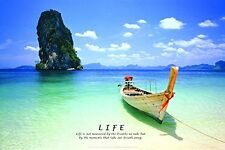 LIFE INSPIRATIONAL QUOTE - TROPICAL BEACH POSTER 24x36 - OCEAN BOAT 4613