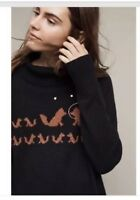 NEW Anthropologie Fanciful Fox Pullover Turtleneck Sweater Size M Rare