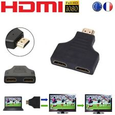 1 HDMI mâle vers 2 HDMI femelle Adaptateur répartiteur câble Splitter Y en 1080p