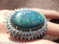 6 3/4 VINTAGE 14K/18K 13CT AUSTRALIAN  BLACK OPAL 3CT DIAMOND DOUBLE HALO RING