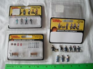 Lot of 3 PARTIAL Woodland Scenics A1941 A1822 A1824 People Figures, HO Scale