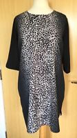 Foil Ladies Dress 18 Leopard Print Long Top Smart Casual Work Office Everyday