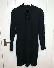 Joseph Ribkoff Dress Bodycon Wiggle Long Sleeve Details Black UK 14