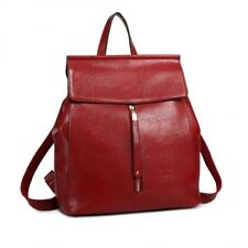 Miss Lulu Vintage Oil-Wax Faux Leather Backpack, Colour Burgundy