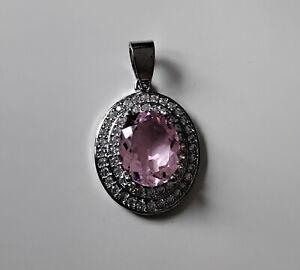 Anhänger mit *rosa Kunzit* und kleinen Zirkonen, Silber 925, rhodiniert