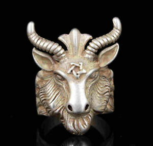 China Old Collection Hand-Carved Tibetan Silver Sheep Statue Rings Gift a117