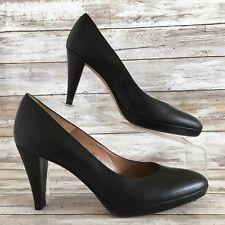 Talbots Womens 7.5M Black Leather Round Toe Cone Heel Platform Dress Career Pump