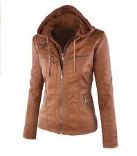 New Women 2in1 Detachable hood Bomber Jacket PU leather Biker jacket Coat UK4-18