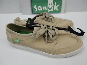 Sanuk Mens Sidewalk Surfers Vagabond Lace Sneaker Natural Size 9