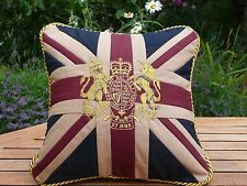 Royal Crest Style Cushion in gold embroidery on a Union Jack in 100% cotton