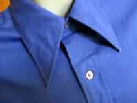 MEDIUM True Vtg 70's TOWNCRAFT MIDNIGHT BLUE BIG COLLAR DRESS SHIRT USA