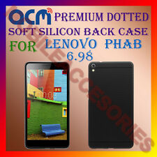 "ACM-DOTTED SOFT SILICON BACK CASE for LENOVO PHAB 6.98"" TABLET RICH COVER -BLACK"