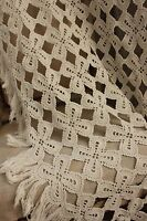 Vintage Blanket hand made Crocheted coverlet or bed cover lace 75X86 inches