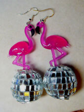 BIG PINK FLAMINGO & 70s and 80s  EARRINGS Glass Silver DISCO BALL LUAU PARTY USA