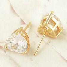 Heart Cut Clear CZ 9k Yellow Gold Filled Butterfly Back Stud Earrings 6mm