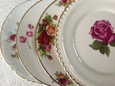 """Vtg Mismatched China 4 Dessert Cake Plates 6.25-6.5"""" Pink & White Roses Florals"""