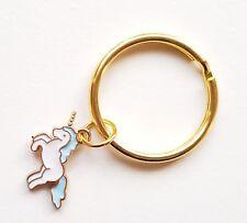 Unicorn Keyring Gift Keychain Gold Enamel Planner Charm Blue