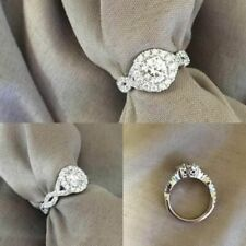 Halo Round Diamond Ring 2.00 Ct 14K White Gold Over 925 Silver Engagement