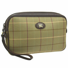 BURBERRY Check Pattern Logos Clutch Bag Pouch Brown Canvas Leather Purse AK35493