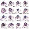 Gift Rainbow & White Topaz Amethyst Fashion Silver Ring Size 6 7 8 9 10 11 12 13