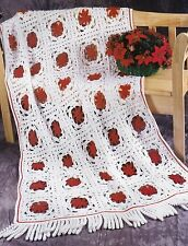 LOVELY Poinsettias & Icicles Afghan/Crochet Pattern Instructions
