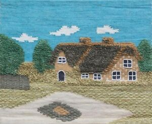Sage Green Designs Jute Tapestry Wall Hangings- Thatched Cottage- 60 x75 cm