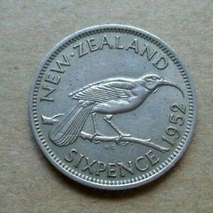 NEW ZEALAND coin  1952 - 6 SIX PENCE KING GEORGE VI