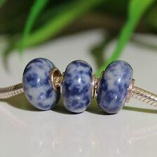 3 STÜCK LAPIS LAZULI 925 Sterling Silber Bead Beads Donut Edelsteine Charme