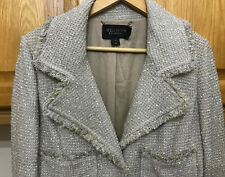 VINTAGE ST. JOHN COUTURE LONG BOUCLE GLITTERY JACKET JEWELLED BUTTONS SIZE 10