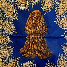Schumacher Decorator Dogs Screen Print Fabric Navy Blue Jack Yorkie Cairn Cocker