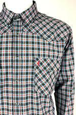 MCS Marlboro Classics Men Long Sleeve Western Shirt Snap Slim Fit Check Blue 4XL