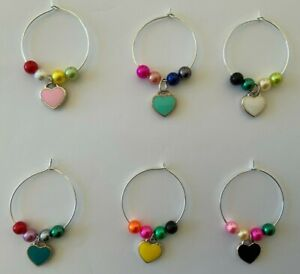 Set of 6 Love Heart Colourful Wine Glass Charms Hand Beaded Silver Alloy