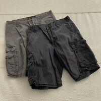 "*LOT OF 2* Lee 33 x 11"" Gray 100% Cotton Twill Cargo Shorts"
