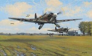 Limited Aviation Print Spitfire Scramble by Philip E West
