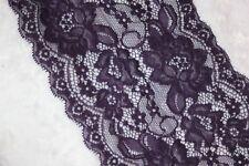 "1 yard dark eggplant purple stretch trim galloon sewing sew LACE 5.75"" wide"