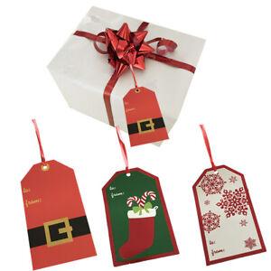 6 Jumbo Christmas Gift Tags Santa Suit Sack Bags Label Xmas Stocking Snowflakes